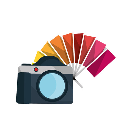 photography equipment: photographic camera device and color guide palette. vector illustration Illustration