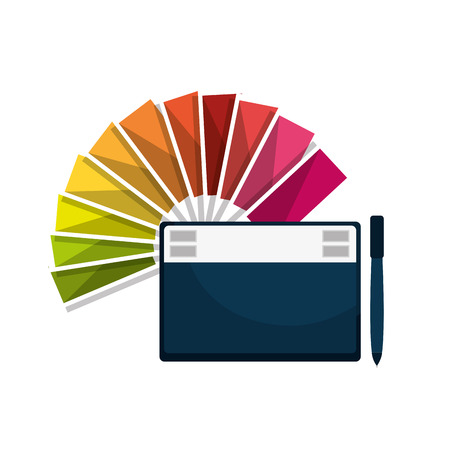 graphic tablet: graphic tablet techonology device and color guide palette. vector illustration
