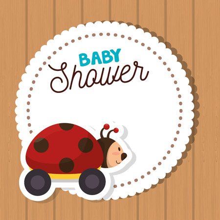 baby shower card with lady bug toy cartoon over wooden background. colorful design.vector illustration Illustration