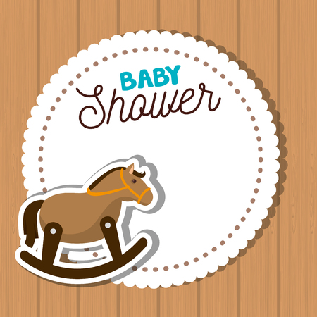 wooden toy: baby shower card with horse wooden toy cartoon over wooden background. colorful design.vector illustration Illustration