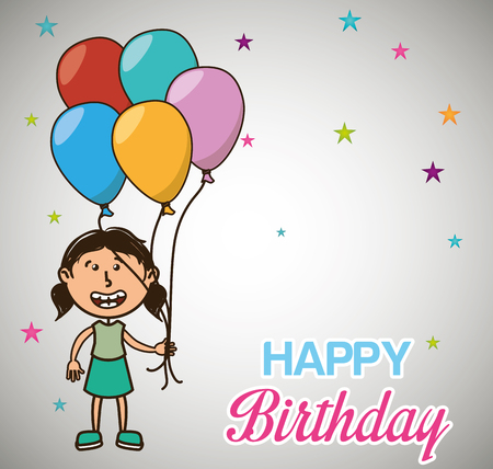 girl smiling with colorful ballons. happy birthday theme. vector illustration