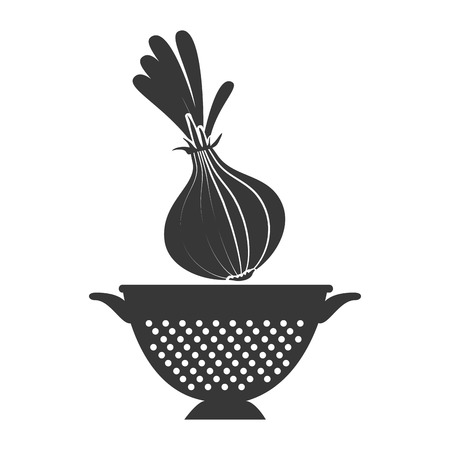 onion fresh vegetable and kitchen colander silhouette. vector illustration