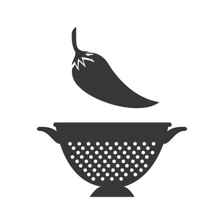 chili fresh vegetable and kitchen colander silhouette. vector illustration Illustration