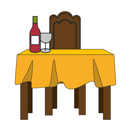 dinner table with yellow tablecloth and wine bottle. vector illustration Illustration