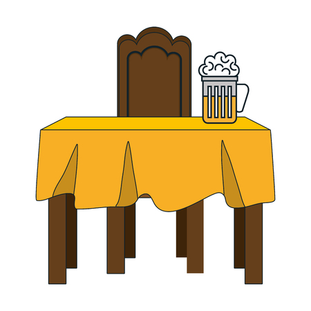 dinner table with yellow tablecloth and beer mug. vector illustration