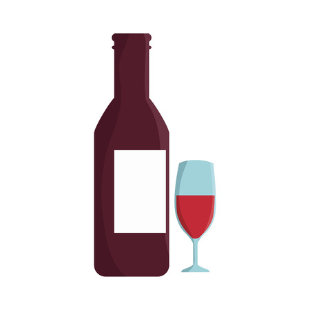 wine bottle with label and glass cup. vector illustration