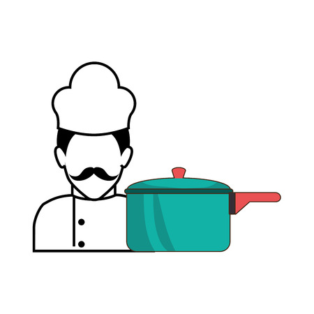 kitchen pot utensil and avatar chef man. vector illustration