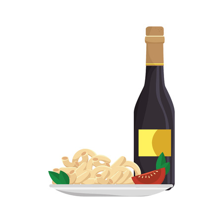 macaroni with cheese: macaroni cheese gourmet plate with wine bottle drink. vector illustration