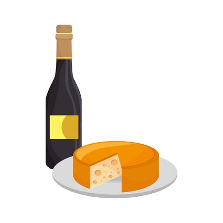 bouteille de vin et gourmet assiette de fromage. illustration vectorielle