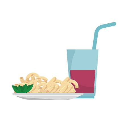 cheesy: macaroni cheese gourmet plate with soda drink. vector illustration Illustration
