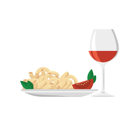 macaroni with cheese: macaroni cheese gourmet plate with wine cup drink. vector illustration