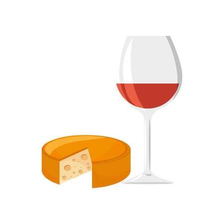 wine glass cup and gourmet cheese food. vector illustration
