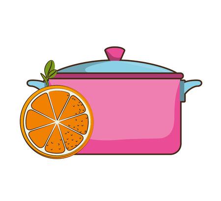 pink kitchen pot utensil and orange slice fruit. vector illustration