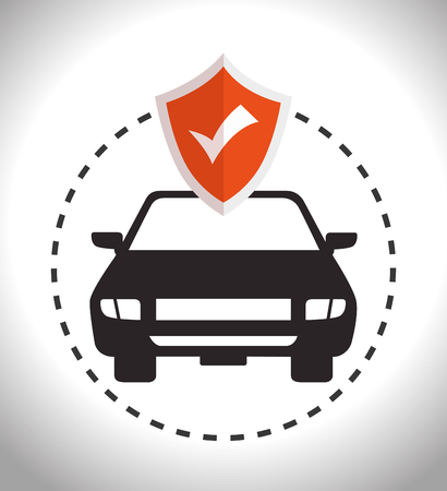 safely: car insurance security and shield checked. vector illustration