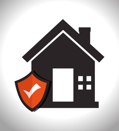 house property with security shield checked. home insurance theme. vector illustration Illustration
