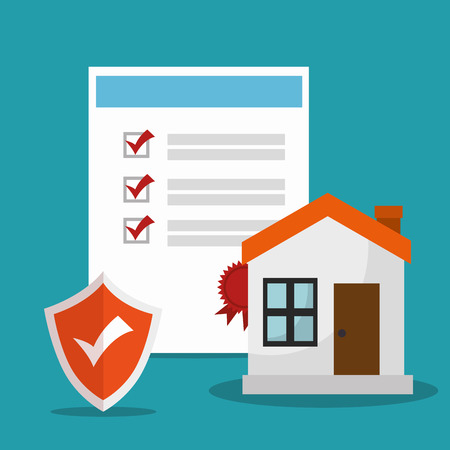 checked: checklist security house insurance document and orange shield checked. vector illustration