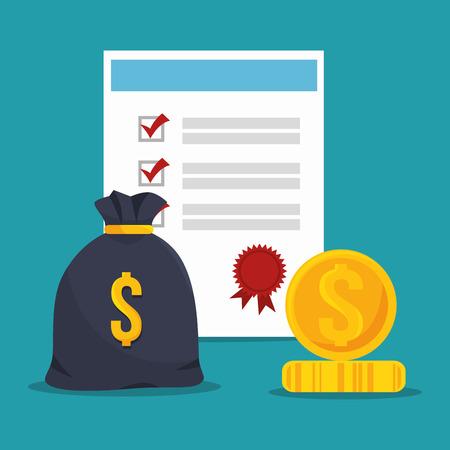 money sack: checklist security insurance document and money sack and coin. vector illustration