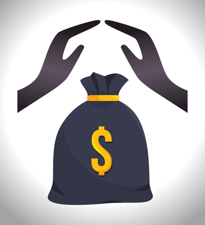 money sack: hands protective with money sack. insurance security service. vector illustration