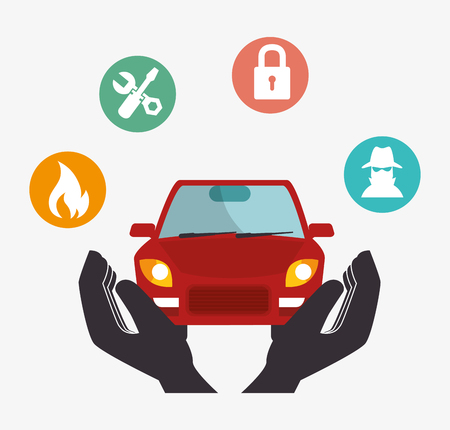 safely: protective hands holding a car. security insurance service. colorful design. vector illustration