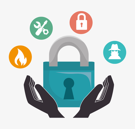 protective hands with padlock. security insurance service. vector illustration Illustration