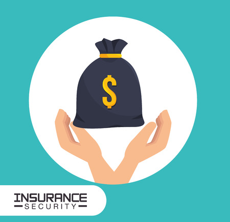 security service: insurance security service and hands with money sack. vector illustration