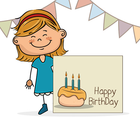 Avatar Girl Smiling And Happy Birthday Card With Sweet Cake