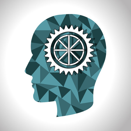 head profile: gear wheel inside polygonal human head profile. vector illustration