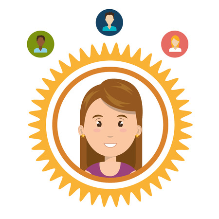 sociologia: avatar woman smiling inside cogwheel andsocial media icon set. vector illustration Vectores