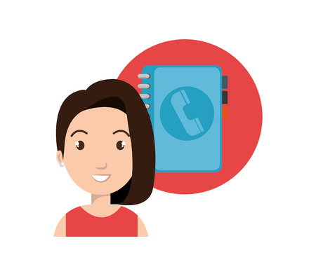 directory: avatar woman smiling with directory book icon. vector illustration Illustration