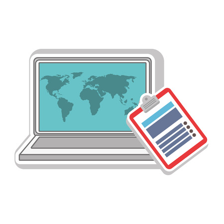Laptop computer with world map wallpaper and report table icon laptop computer with world map wallpaper and report table icon vector illustration stock vector gumiabroncs Image collections