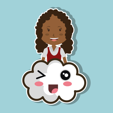 avatar girl smiling and cartoon cloud with smiling faces. colorful design. vector illustration Illustration