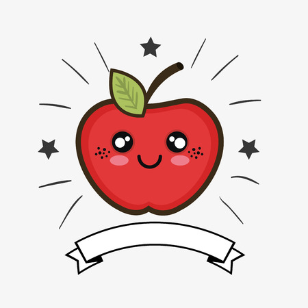 red apple fruit cartoon with happy expression face and ribbon. colorful design. vector illustration Illustration