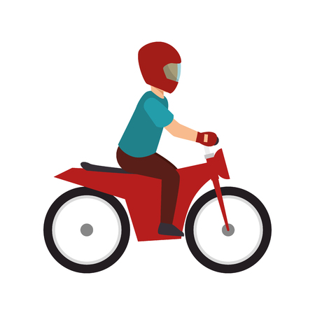 casco rojo: hombre motorista en una motocicleta de color rojo con el casco rojo. deporte extremo. ilustración vectorial Vectores