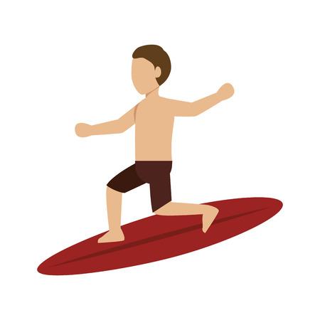 silueta del hombre surfista. deporte acuático extremo. ilustración vectorial