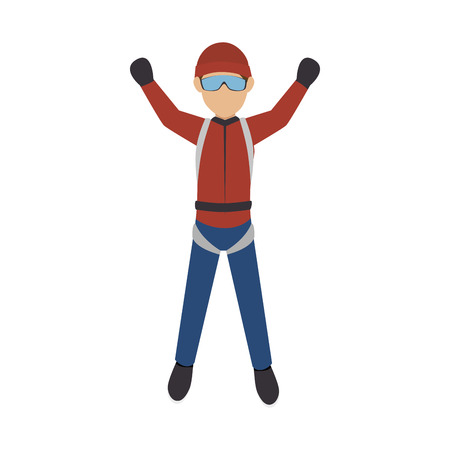 accelerating: parachutist man falling with red clothes and glasses. extreme sport. vector illustration