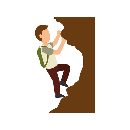 accelerating: rock-climber man climbing a rock wall with green backpack. extreme sport. vector illustration