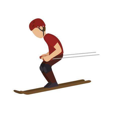 accelerating: Man trainning ski sport silhouette. extreme snow sport. vector illustration