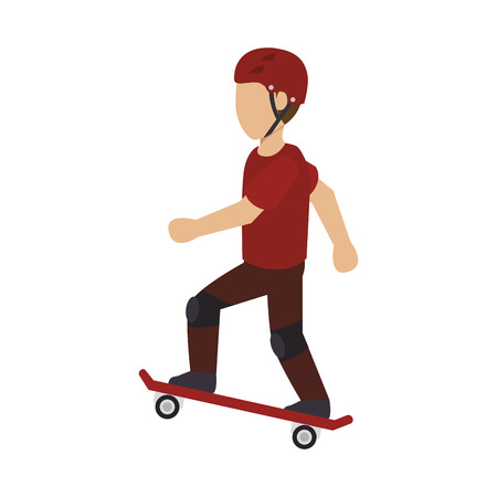 skater man with helmet silhouette. extreme sport. vector illustration