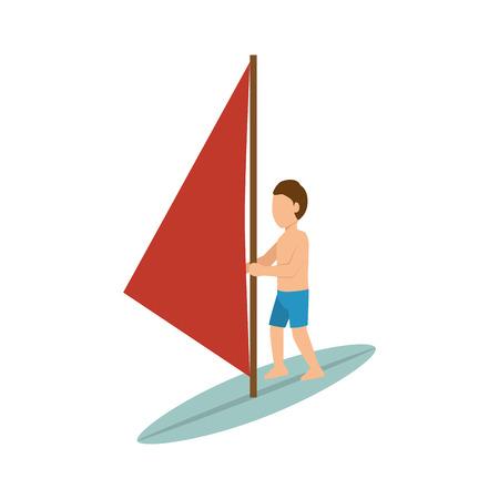 accelerating: Sportsmen surfer red sail cartoon. extreme sport. vector illustration Illustration