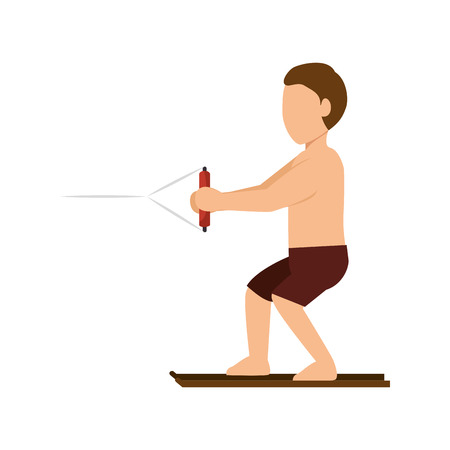 accelerating: cartoon man with brown pants surfing. extreme aquatic sport. vector illustration
