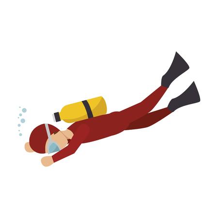 free diver: diver sport man over white background, vector illustration Illustration