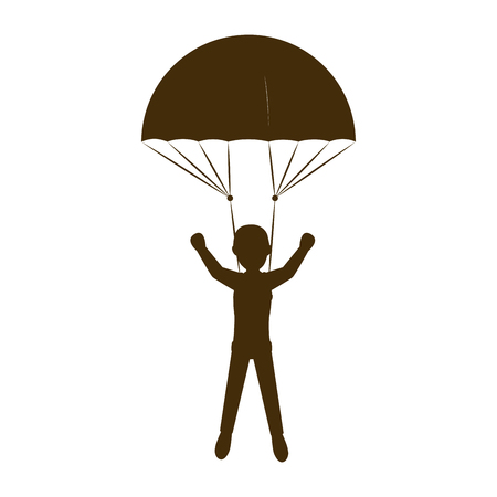 accelerating: parachutist man falling with open colorful parachute cartoon. extreme sport. vector illustration