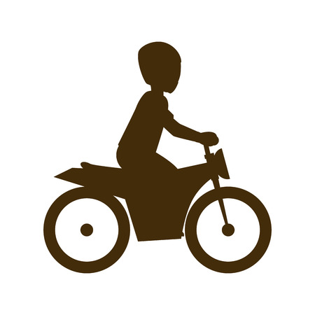 accelerating: man biker riding a red motorcycle with red helmet. extreme sport. vector illustration