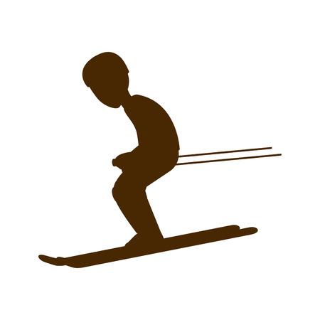 Man trainning ski sport silhouette. extreme snow sport. vector illustration