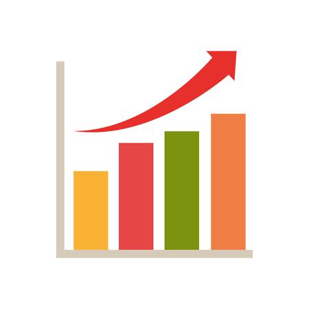 declining: Financial  statistics bars chart with arrow up. vector illustration