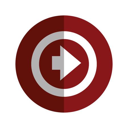 arrow shape direction symbol navigation element on red circle. vector illustration Illustration