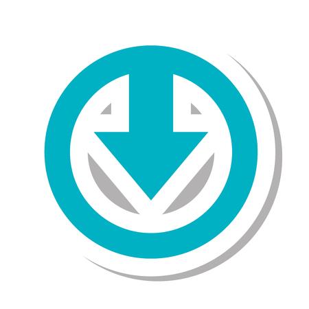 orientation marker: arrow shape down direction symbol. download sign. vector illustration Illustration