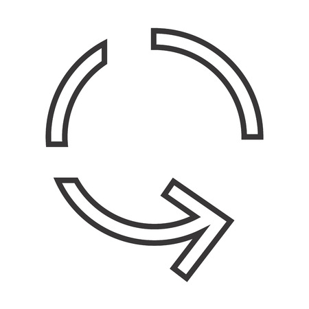 syncing: Sync refresh or webpage reload arrow. replay sign. vector illustration Illustration