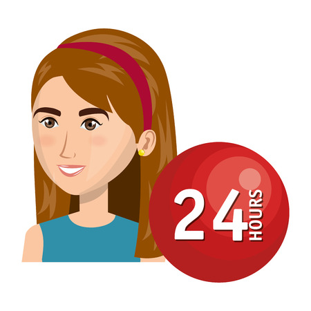 call centre girl: avatar woman smiling with call center icon. colorful design. vector illustration Illustration