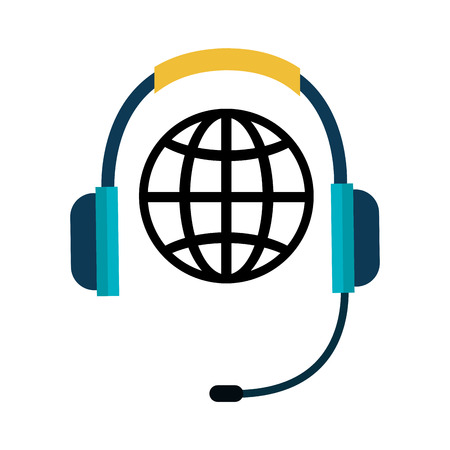 receiver: telephone headset with microphone and global sphere network connection. vector illustration